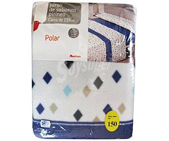 AUCHAN Juego de sábanas serie Pirineo color azul para cama de 150 centímetros, densidad del tejido de 130 gramos/m² 1 Unidad