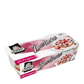 Solo Italia Postre de fresa Pack de 2x70 g