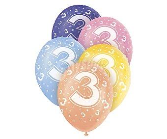 UNIQUE Globos de látex de colores surtido con número 3 impreso, 12 pulgadas, 30 centímetros 5 unidades