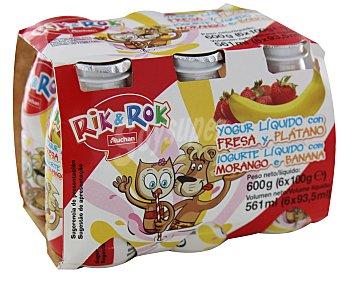 Rik&Rok Auchan Yogur líquido con sabor a fresa y plátano 6 unidades de 100 gramos