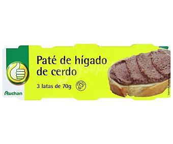 Productos Económicos Alcampo Paté de hígado de cerdo Lata de 70 g. pack de 3