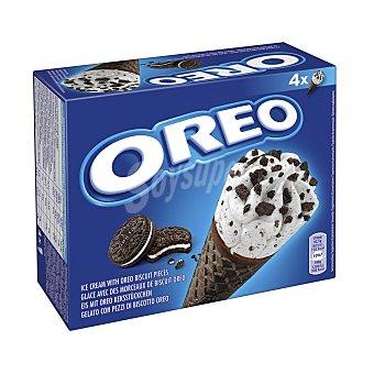 Oreo Cono con barquillo de chocolate y helado de nata con trocitos de galleta 4 x 110 ml