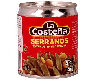 La Costeña Chiles serranos enteros en escabeche lata de 220 gramos