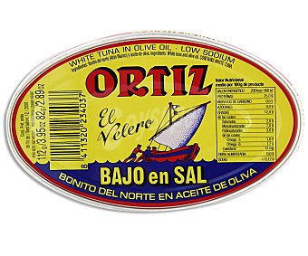 Conservas Ortiz Bonito del norte en aceite de oliva bajo en sal Lata 82 g neto escurrido