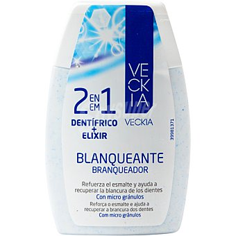 Veckia dentífrico con elixir 2 en 1 blanqueante refuerza el esmalte y ayuda a recuperar la blancura de los dientes tubo 100 ml