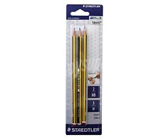 Staedtler Lote de 3 lápices de grafito, con cuerpo de madera de color amarillo y negro y dureza HB (2) y 3H (1) 3 l