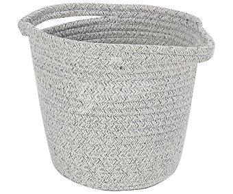 Actuel Cesto de algodón bicolor blanco y gris, 20x20 cm. actuel.