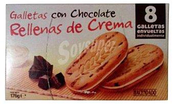 HACENDADO GALLETA TROZOS CHOCOLATE RELLENA DE CREMA PAQUETE 176 g
