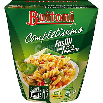 BUITONI COMPLETISSIMO Fusilli con verduras y prosciutto 1 ración Envase 280 g
