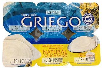 Hacendado Yogur griego natural azucarado Pack 6 x 125 g - 750 g