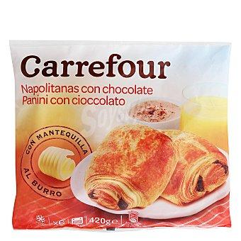 Carrefour Napolitana con chocolate Carrefour Pack de 6 unidades de 75 g