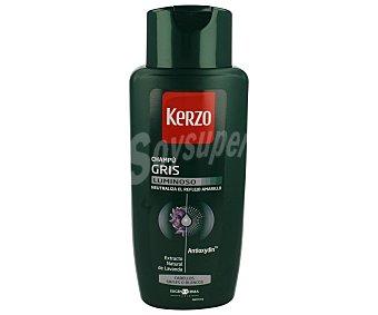 Kerzo Champú para hombre gris luminoso (neutraliza el reflejo amarillo) para cabellos grises o blancos 400ml