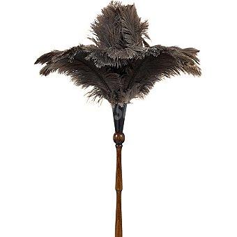 MIRKO Plumero de avestruz con mango torneado de madera color caoba