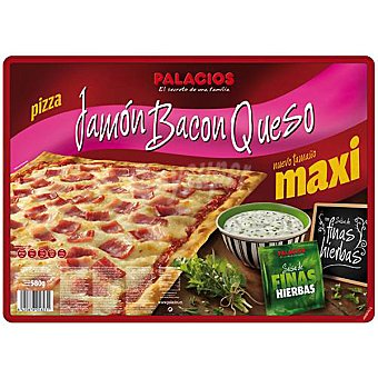 Palacios Pizza rectangular de jamón bacon y queso con salsa a las finas hierbas Estuche 580 g