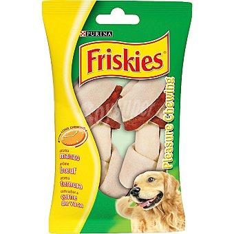 Friskies Purina Hueso pequeño con doble textura para perro con sabor a buey Pleasure Chewing Paquete 2 unidades
