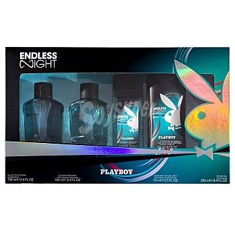 Playboy Fragrances Lote hombre endless night eau toilette vaporizador 100 ml + after shave 100 ml + body spray 150 ml + gel baño 250 ml  1 lote