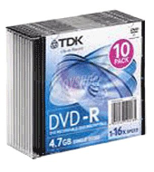 TDK Dvd r slim 10 16X Unidad