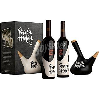 PORRON MOLON Abuelo Enséñame vino tinto D.O. Penedés Estuche 2 botellas 75 cl con porrón de cerámica Estuche 2 botellas 75 cl