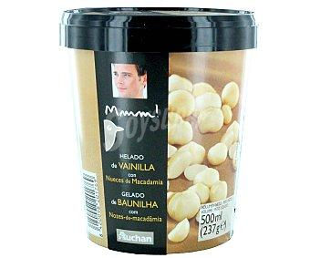 Mmm Auchan Helado de vainilla con nueces de Macadamia Tarrina de 500 mililitros