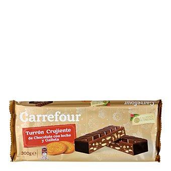 Carrefour Turrón de chocolate con galletas, almendras, avellanas y leche. 300 g