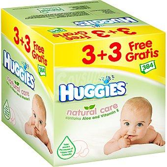 Huggies Natural Care Toallitas infantiles con aloe vera y vitamina E Pack 6 envase 64 unidades
