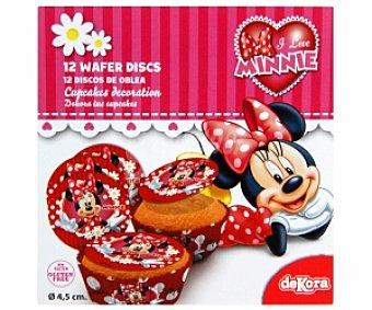 MINNIE MINI Discos de oblea 4,5cm, decoración de cupcakes 12 Unidades