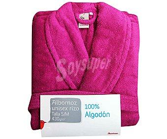 Auchan Albornoz de rizo americano color rosa fucsia talla mediana 1 Unidad