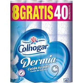 COLHOGAR Dermia Higienico Paquete 32+8 rollos