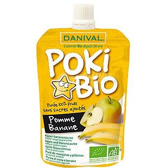 DANIVAL POKI BIO Puré de manzana y plátano 100% fruta sin azúcares añadidos Envase 90 g