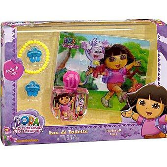 DORA LA EXPLORADORA eau de toilette natural infantil + puzzle 3D + 2 clips para el pelo + pulsera Spray 50 ml