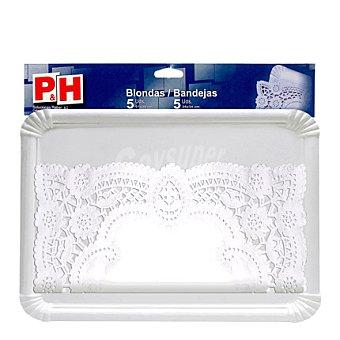 P & H Set de Bandejas y 5 blondas de cartón 25x34 cm- Blancas 5 Ud