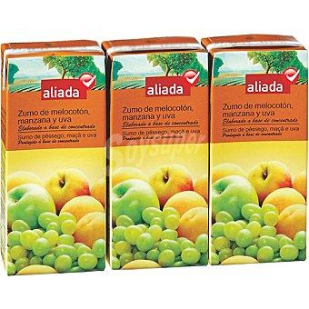 Aliada Zumo de melocotón manzana y uva elaborado a base de concentrado Pack 3 envase 200 ml