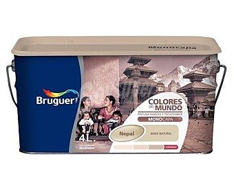BRUGUER Pintura plástica de interior, color beige suave Nepal, Colores del Mundo 4 L