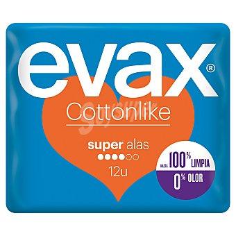 Evax Compresa cottonlike con alas super Bolsa 12 unidades