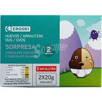 Eroski Huevos de chocolate Pack 2x20 g