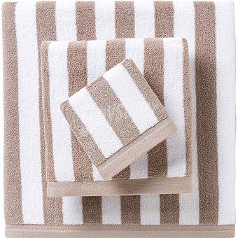 CASACTUAL  Toalla jacquard de lavabo con rayas en color blanco y marrón 1 unidad