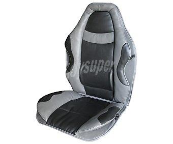 CAR FACTORY Respaldo universal acolchado con cabezal, apoyo lumbar, tacto piel de alta calidad y de fácil limpieza, de color gris con toques en negro, modelo Graffiti 1 unidad