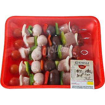 GURMESA Brochetas artesanas pollo embutido bandeja 750 g 5 unidades