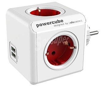Allocacoc Multiplicador de enchufes con Usb rojo, 4 tomas enchufe, 2 x Usb Powercube Original