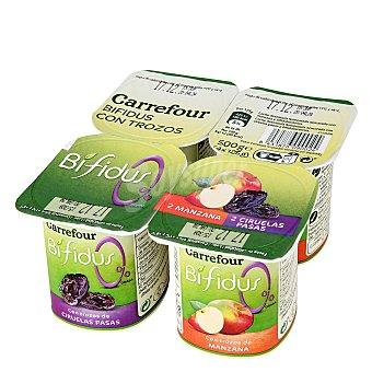 Carrefour Yogur Bífidus 0% con ciruela y manzana Pack 4x125 g