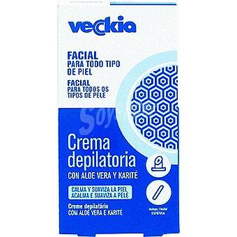 Veckia Crema depilatoria facial con aloe vera y karité para todo tipo de piel Tubo 20 ml