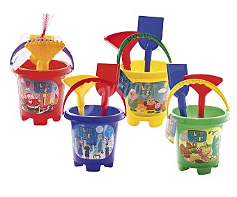 Euraspa Conjunto de juguetes de playa (pala, rastrillo..) y un cubo para transportalos y guardarlos EURASPA.
