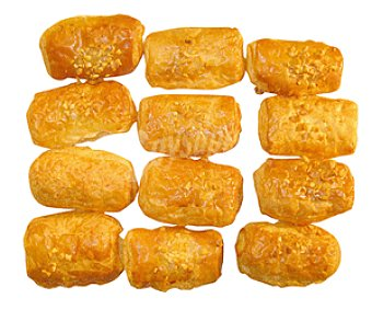 Bolleria Mini napolitanas (masa de bollería semi-hojaldrada) rellenas de crema 12 unidades