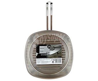 AUCHAN Plancha grill cuadrada de 27 centímetros de acero inoxidable 1 Unidad