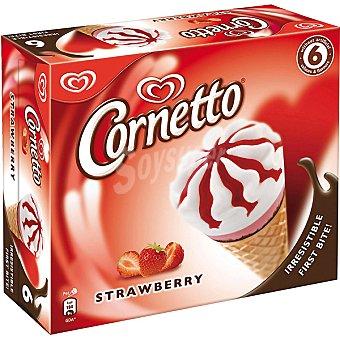 Frigo Cornetto Cono helado de nata y fresa con barquillo al chocolate 6 unidades estuche 560 ml 6 unidades