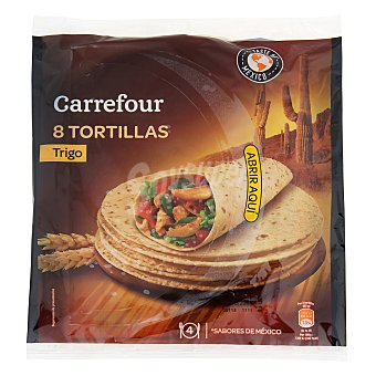 Carrefour Tortillas de trigo natural 'tex Mex' 8 unidades (340 gramos)