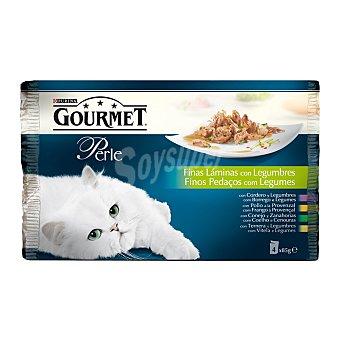 Purina Gourmet Comida húmeda para gatos adultos Perle finas láminas con legumbres Pack 4 u x 85 g