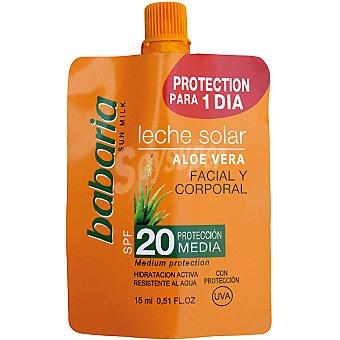 BABARIA leche solar Aloe Vera FP-20 resistente al agua monodosis  tubo 15 ml