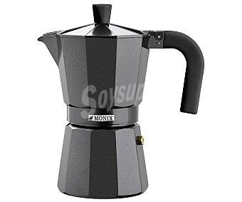 MONIX Vitronoir Cafetera Italiana de aluminio, capacidad 1 taza, no apta para inducción, Vitro Noir monix