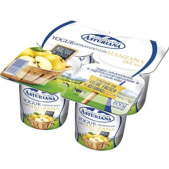 Central Lechera Asturiana Yogur desnatado con manzana Pack 4x125 g